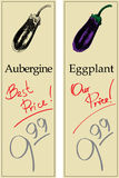 Aubergine. Two Price Tags with Vintage Effect Royalty Free Stock Photos