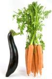 Aubergine & wortelen Stock Foto