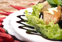Aubergine appetizer. Appetizer made of rolled egg-plants served with salad stock photography