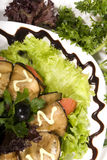 Aubergine appetizer. Appetizer made of rolled egg-plants served with salad royalty free stock photos