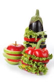 Aubergine, apple and pepper Stock Images