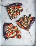 Aubergine avec les tomates et le feta image stock