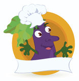 Aubergine-beeldverhaal-karakter-met-promo-lint stock illustratie