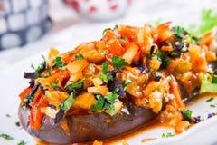 Aubergine bourrée avec Fried Vegetables Images stock