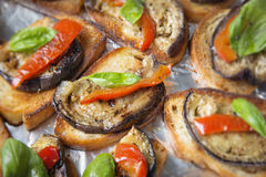 Aubergine bruschetta Royalty Free Stock Photography