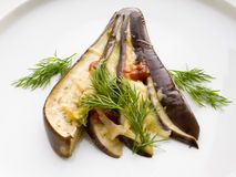 Aubergine with cheese  and dill. Royalty Free Stock Image