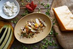 Aubergine and cheese recipe italian food Royalty Free Stock Photo