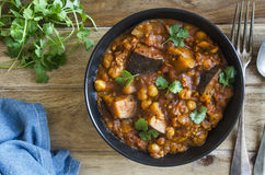 Aubergine and chickpea Madras Royalty Free Stock Images