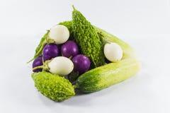 Aubergine, concombre, courge sur le fond blanc Image libre de droits