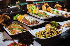 Cuisine Culinary Buffet Dinner Catering Dining Food Celebration Party Concept. stock photography