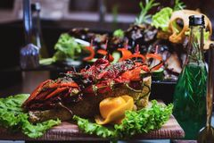 Cuisine Culinary Buffet Dinner Catering Dining Food Celebration Party Concept. Aubergine cooked on a grill, cut in long pieces and beautifully laid out on a royalty free stock photos