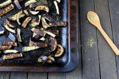 Aubergine déchiquetée frite Photos libres de droits
