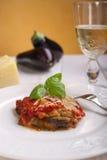 Aubergine de Parmigiana sur le paraboloïde Image libre de droits