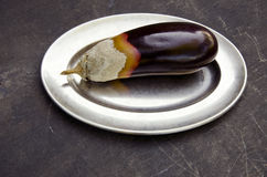 Aubergine decay on metal plate Royalty Free Stock Photography