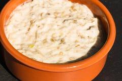 Aubergine dip in ceramic bowl. Stock Photos