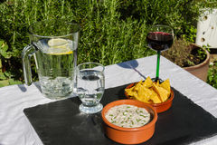 Aubergine dip in ceramic bowl with tortilla chips and iced water Royalty Free Stock Photos