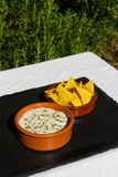 Aubergine dip in ceramic bowl with tortilla chips. Outdoors on s Royalty Free Stock Image