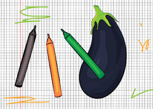 Aubergine drawn on paper illustration Royalty Free Stock Photo