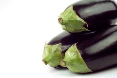 Aubergine, egg plants. 3 aubergine, egg plants, isolated on white background, free copy space Stock Photos