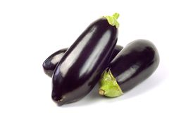 Aubergine, egg plants. 3 aubergine, egg plants, isolated on white background, free copy space Royalty Free Stock Photo