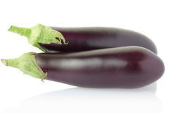 Aubergine or eggplant on white royalty free stock images