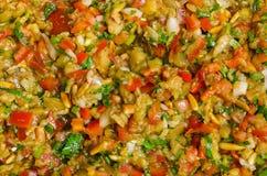 Aubergine en Spaanse pepersalade Stock Foto's