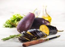 Aubergine et huile d'olive Images libres de droits