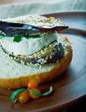Aubergine et sandwich grillés à Portobello Image stock