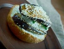 Aubergine et sandwich grillés à Portobello Photographie stock libre de droits