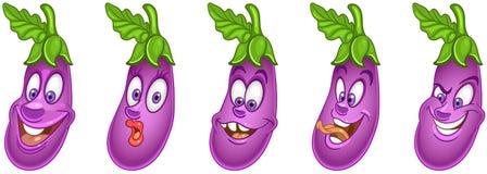aubergine Grönsakmatbegrepp vektor illustrationer