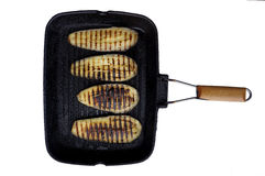 Aubergine and grill pan Royalty Free Stock Photos