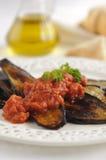 aubergine grillad såstomat royaltyfria foton