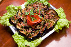 aubergine grillad såstomat arkivbild