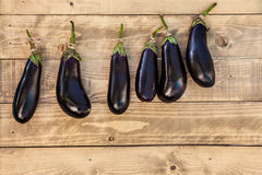 Aubergine hanging on a wooden background Royalty Free Stock Photos
