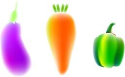 Aubergine, Karotte, grüner Pfeffer Stockfoto