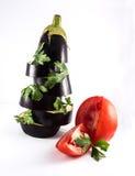 Aubergine med tomaten Royaltyfri Fotografi