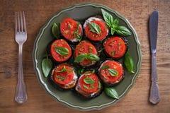 Aubergine med tomater och sås Panna stekte aubergine Sund vegetarisk mat, aptitretare arkivfoto
