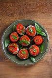 Aubergine med tomater och sås Panna stekte aubergine Sund vegetarisk mat, aptitretare royaltyfri bild