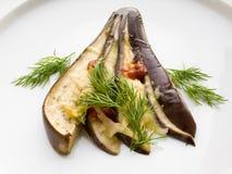 Aubergine met kaas en dille. royalty-vrije stock afbeelding