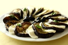 Aubergine and Mozzarella Plate. Roasted aubergine slices garnished with mozzarella, basil leaves and olives Royalty Free Stock Images