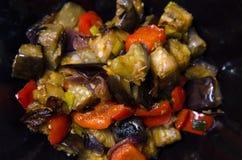 Aubergine och peppar med vitlök-, lök- och sojabönasause, kinesiskt recept royaltyfri fotografi