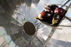 Aubergine på den sol- spisen arkivbilder