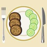 Aubergine på en platta vektor illustrationer