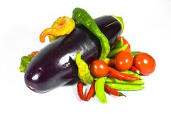 Aubergine, Paprika und Tomaten. stockbild