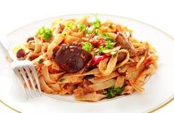 Aubergine with pasta Stock Image