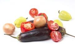 Aubergine, peper, uien Stock Foto