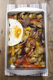 Aubergine and pepper fried egg Royalty Free Stock Image