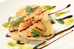 Aubergine with pesto and balsamico Stock Photo