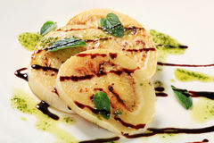 Aubergine with pesto and balsamico Royalty Free Stock Photos