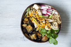 Aubergine, quinoa and tofu in coconut bowl. Buddha bowl with quinoa, roast aubergine and silky tofu royalty free stock photography